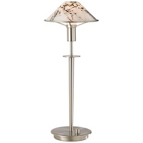 Holtkoetter Satin Nickel Marble Glass Desk Lamp