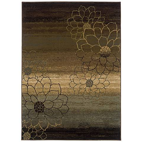 Floral Silhouette Area Rug
