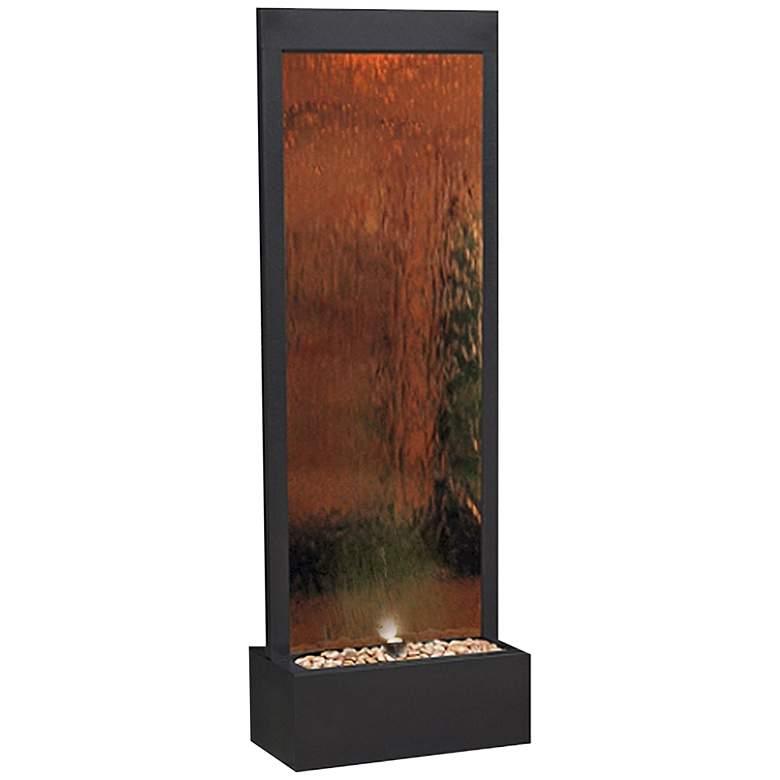 "Modern Black and Bronze Mirror 72"" High Panel Fountain"