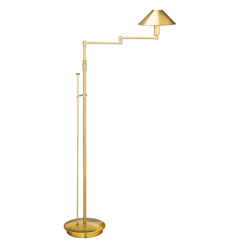 Holtkoetter Antique Brass Metal Shade Swing Arm Floor Lamp