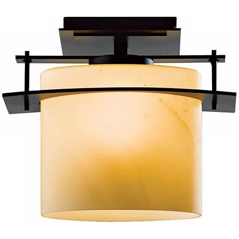 Hubbardton Forge Arc Ellipse Black Semi-flush Ceiling Light