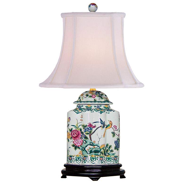 Green Floral Porcelain Scalloped Tea Jar Table Lamp