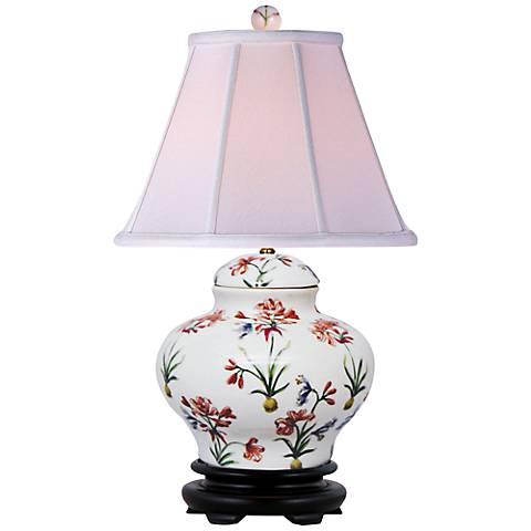 "Floral Pattern 16""H Hand-Painted Porcelain Jar Table Lamp"