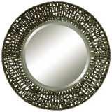 "Uttermost Woven Black 37"" Round Metal Wall Mirror"