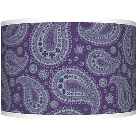 Purple Paisley Linen Giclee Shade 12x12x8.5 (Spider)