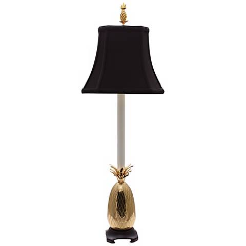 Tropical Brass Black Shade Pineapple Buffet Table Lamp