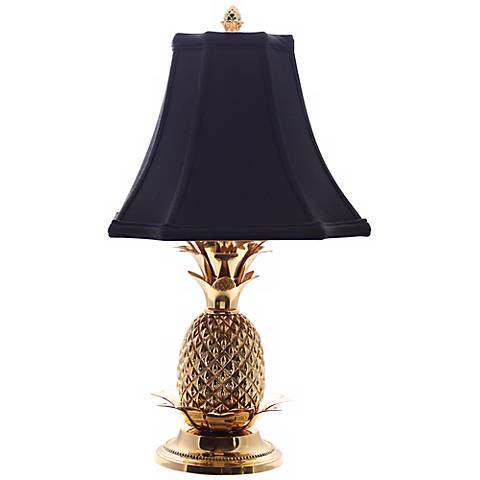 Tropical Brass Black Shade Pineapple Table Lamp