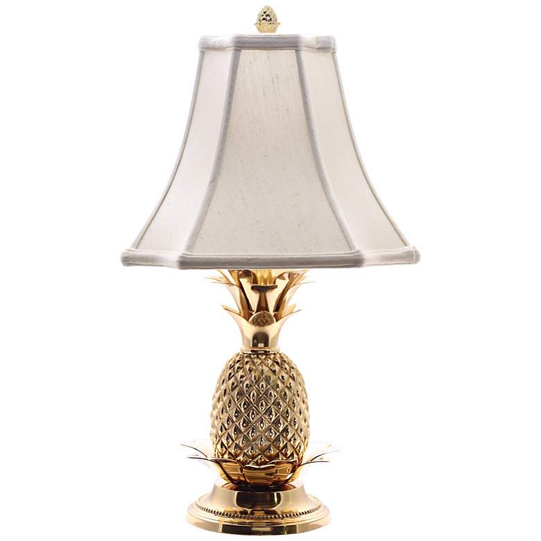 Tropical Brass White Shade Pineapple Table Lamp