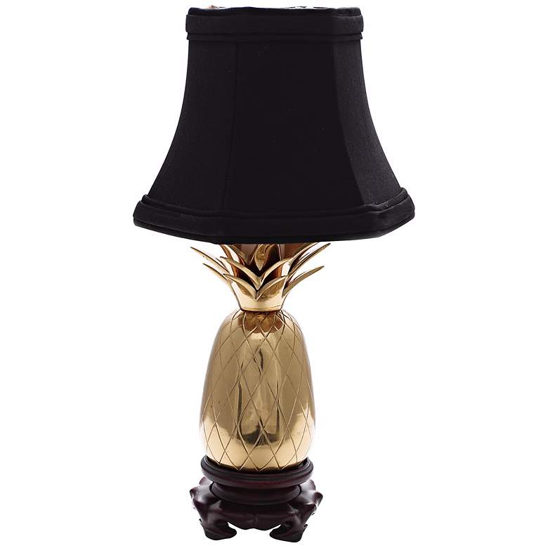 Polished Brass Black Shade Mini Pineapple Accent Lamp