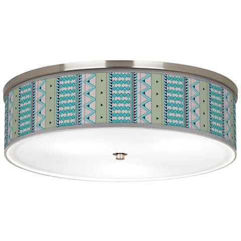 "Geo Metrix Giclee Nickel 20 1/4"" Wide Ceiling Light"