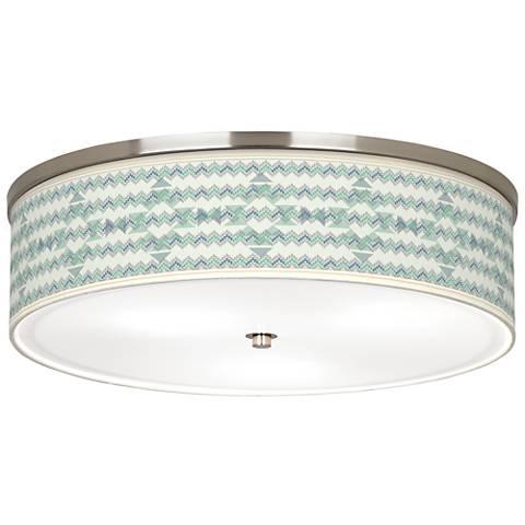 """Triangular Stitch Giclee Nickel 20 1/4"""" Wide Ceiling Light"""