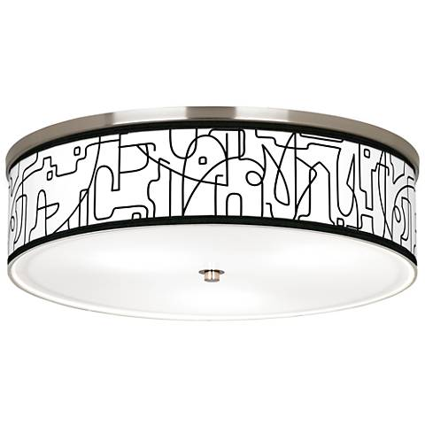 "Scribble World Giclee Nickel 20 1/4"" Wide Ceiling Light"