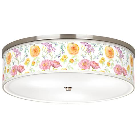 "Spring Garden Giclee Nickel 20 1/4"" Wide Ceiling Light"