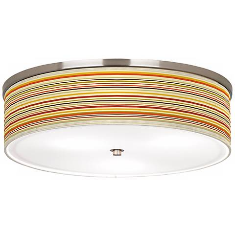 "Stacy Garcia Lemongrass Stripe Nickel 20 1/4"" Ceiling Light"