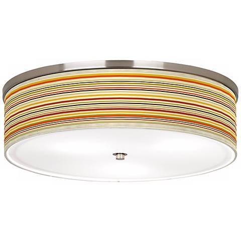 "Stacy Garcia Lemongrass Stripe Nickel 20 1/4"" Ceiling Light"