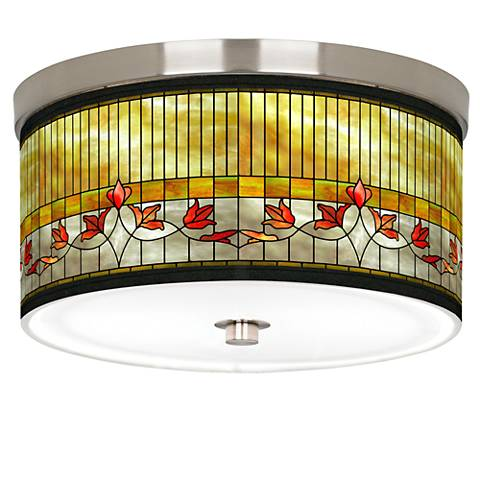 """Tiffany Lily Giclee Nickel 10 1/4"""" Wide Ceiling Light"""