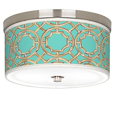 "Teal Bamboo Trellis Giclee Nickel 10 1/4""W Ceiling Light"