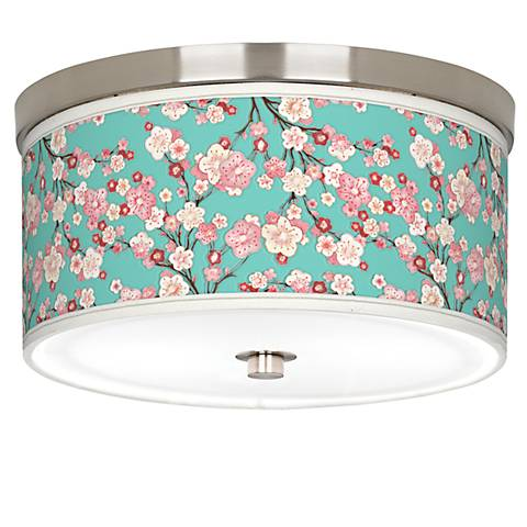 "Cherry Blossoms Giclee Nickel 10 1/4"" Wide Ceiling Light"