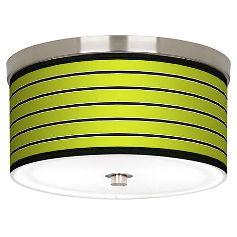 "Bold Lime Green Stripe Nickel 10 1/4"" Wide Ceiling Light"