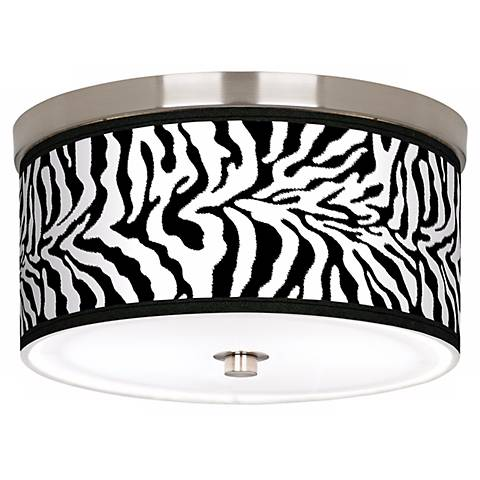 "Safari Zebra Giclee Nickel 10 1/4"" Wide Ceiling Light"