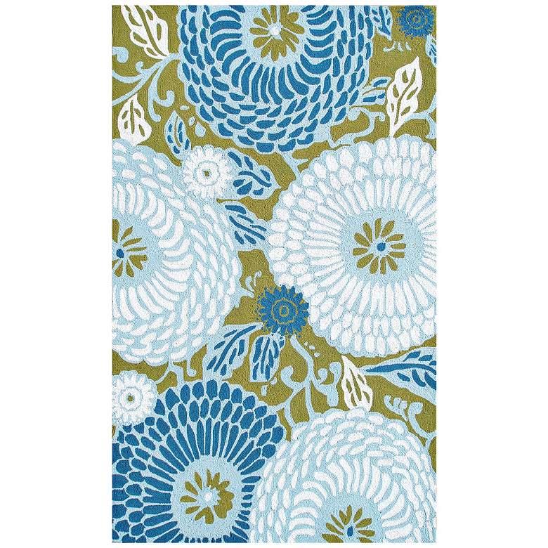 Veranda Collection 5'x8' Mod Floral Blue Indoor Outdoor Rug