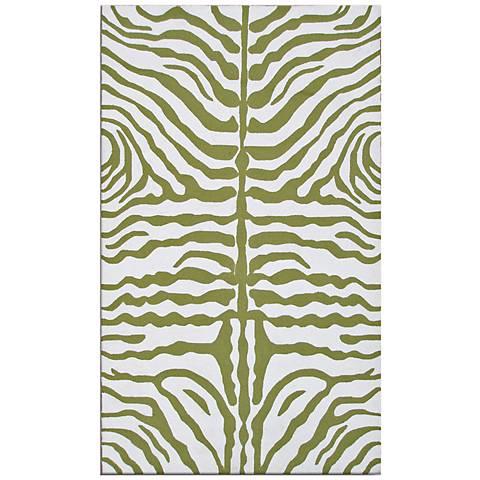 Zebra Stripe Green Indoor-Outdoor Rug