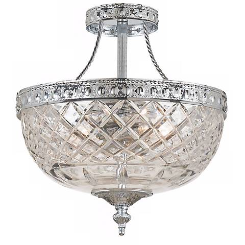 "Crystorama Majestic Chrome 10"" Wide Semiflush Ceiling Light"