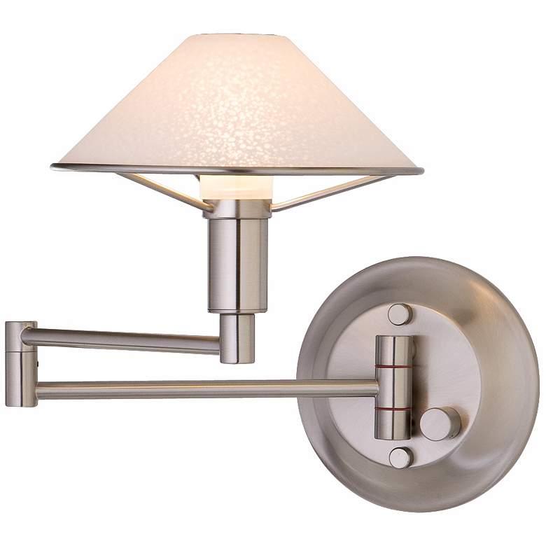 Holtkoetter Satin Nickel Satin White Glass Swing Arm Lamp
