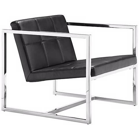 Zuo Carbon Black Leatherette and Chrome Accent Chair