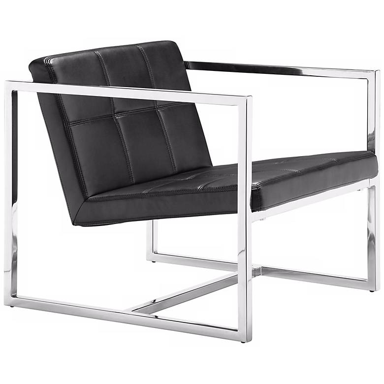 Zuo Carbon Black Leatherette and Chrome Modern Accent Chair