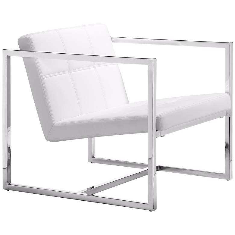 Zuo Carbon White Leatherette and Chrome Modern Accent Chair