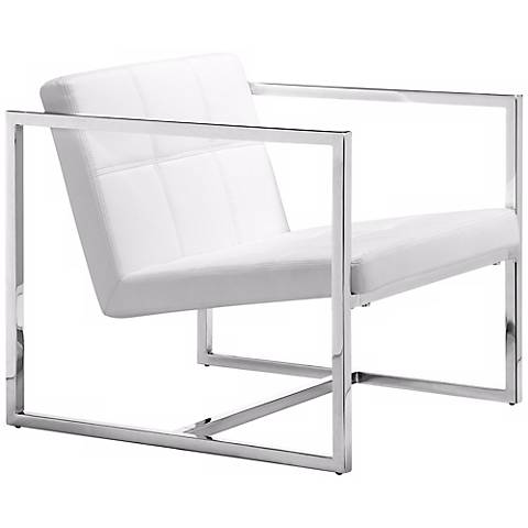 Zuo Carbon White Leatherette and Chrome Accent Chair