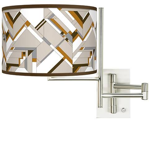 Tempo Craftsman Mosaic Plug-in Swing Arm Wall Lamp