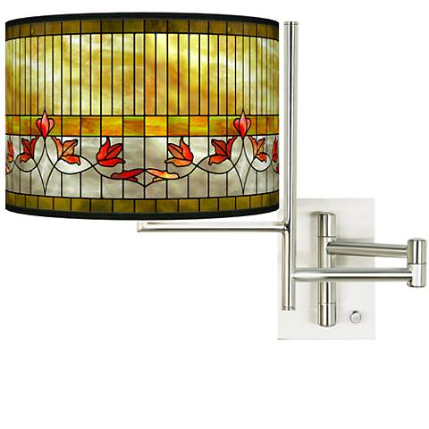 Tempo Tiffany Lily Plug-in Swing Arm Wall Lamp