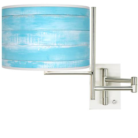 Tempo Barnyard Blue Plug-in Swing Arm Wall Lamp