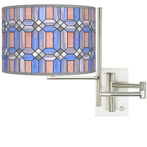 Tempo Asscher Tiffany-Style Plug-in Swing Arm Wall Lamp
