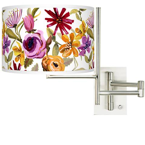 Tempo Bountiful Blooms Plug-in Swing Arm Wall Lamp
