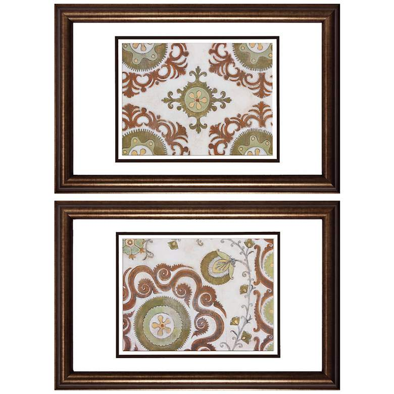 Set of 2 Earth Suzani Prints Wall Art