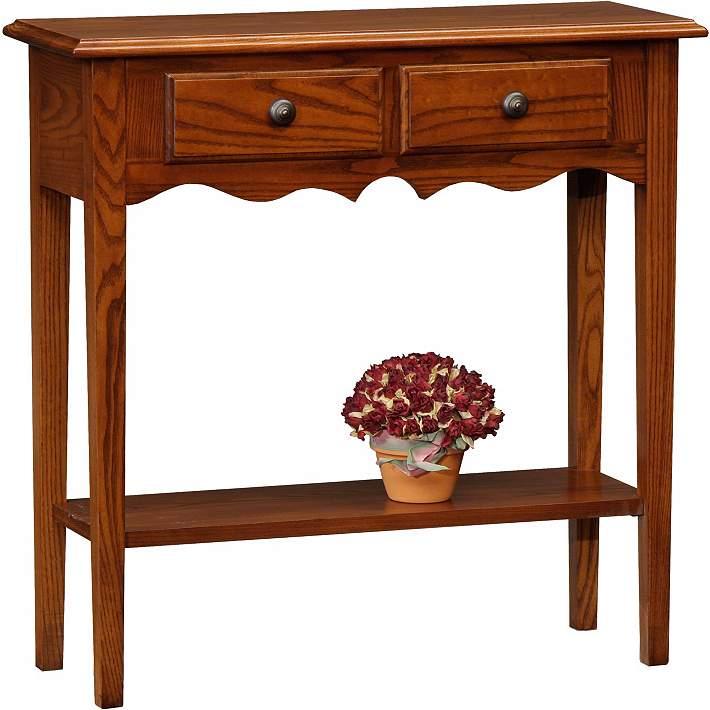 "Favorite Finds 30"" Wide Oak Wood Petite Console Table - #K3079"