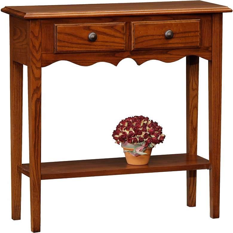 "Favorite Finds 30"" Wide Oak Wood Petite Console Table"