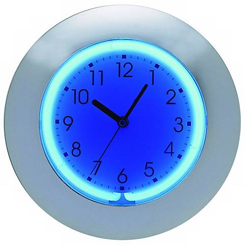 """Blue or Pink Neon 12"""" Wide Wall Clock"""