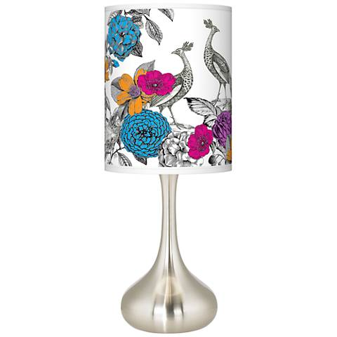 Peacocks in the Garden Giclee Droplet Table Lamp
