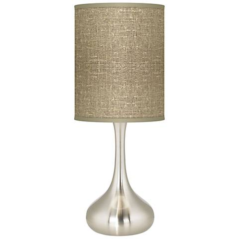 Burlap Print Giclee Droplet Table Lamp