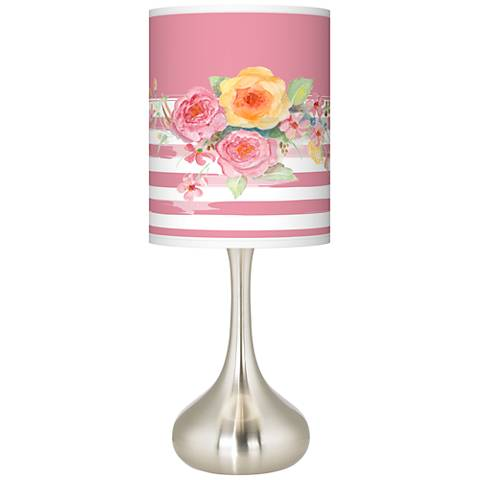 Country Rose Giclee Brushed Steel Droplet Table Lamp