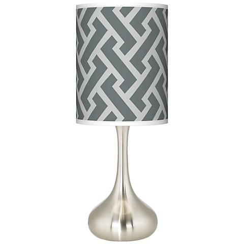 Smoke Brick Weave Giclee Droplet Table Lamp