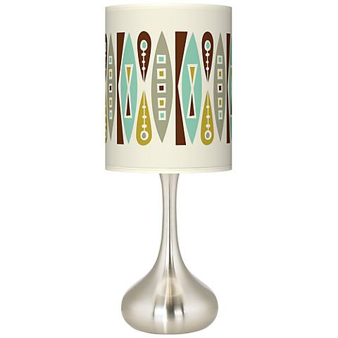 Brushed Steel Droplet Table Lamp with Translucent Shade