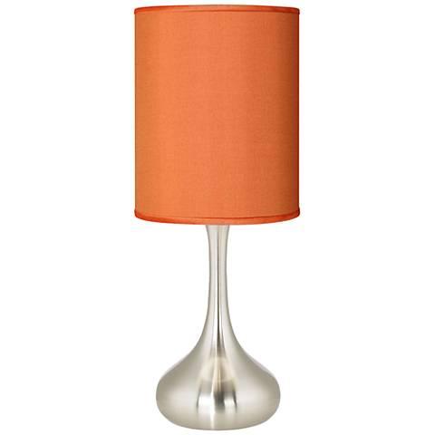 "Orange Faux Silk 23 1/2"" High Droplet Table Lamp"