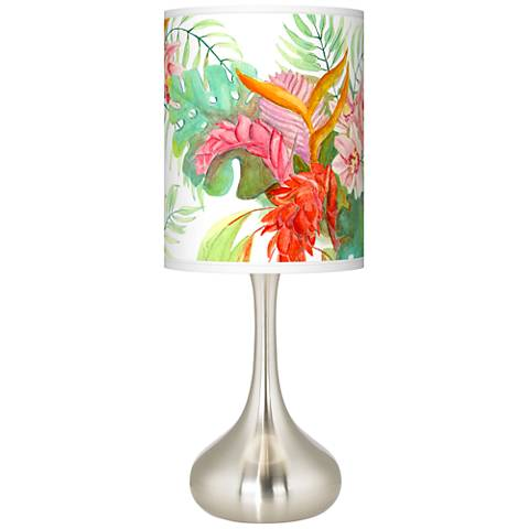 Island Floral Giclee Droplet Table Lamp