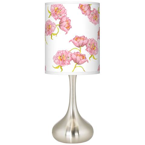 Pretty Peonies Giclee Droplet Table Lamp