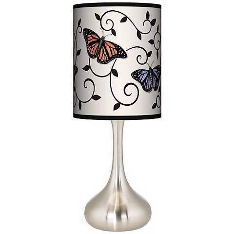 Butterfly Scroll Giclee Droplet Table Lamp